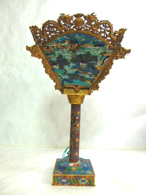 VINTAGE ANTIQUE CHINESE CLOISONNE LAMP W/ GOLD