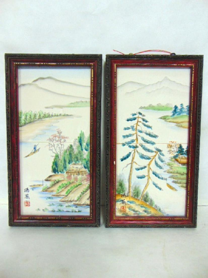 PAIR OF HAND PAINTED SIGNED CHINESE PORCELAIN TILES