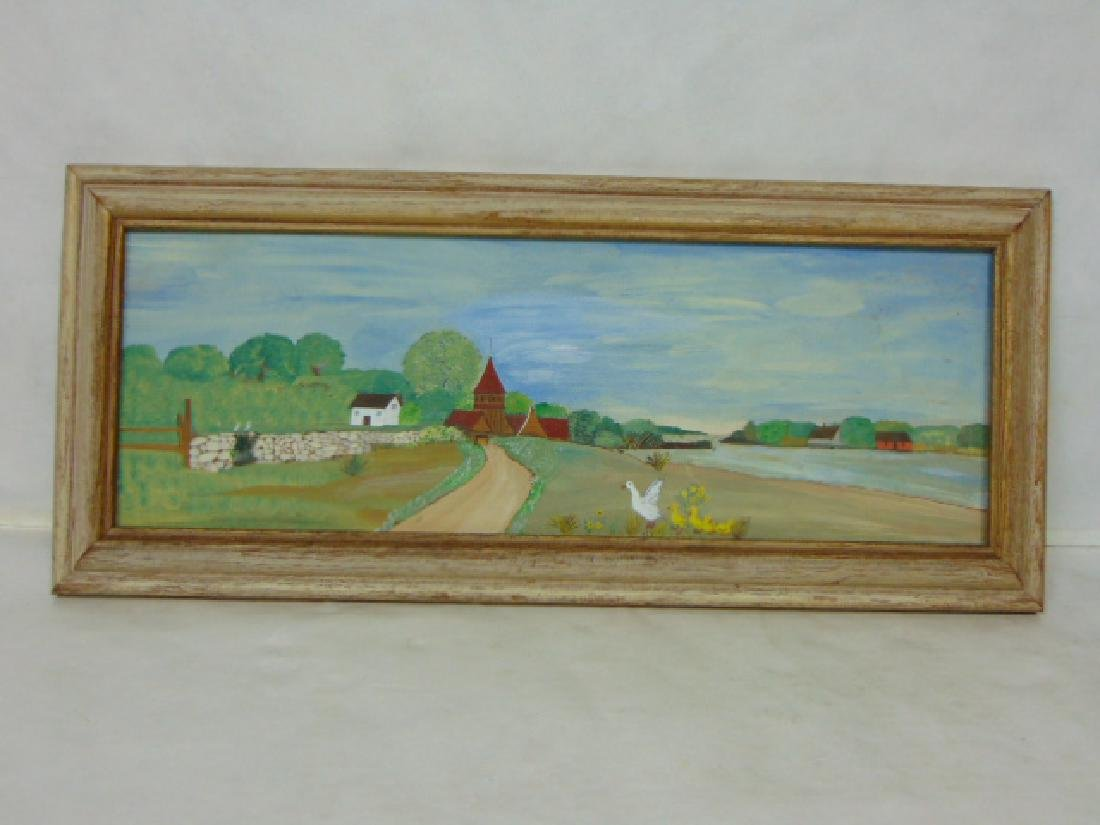 VINTAGE COUNTRY PRIMITIVE FARM PAINTING