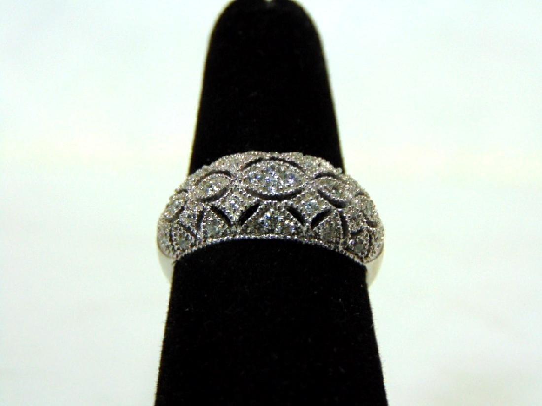 Womens Sterling Silver .925 Filigree Ring w/ CZ Stones