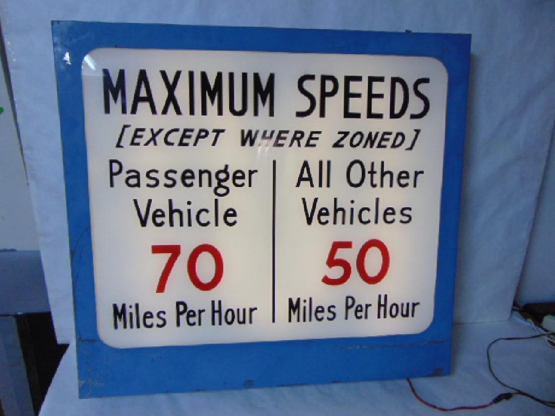 RARE AUTOMOBILE CAR LIGHT UP SPEED SIGN MANCAVE