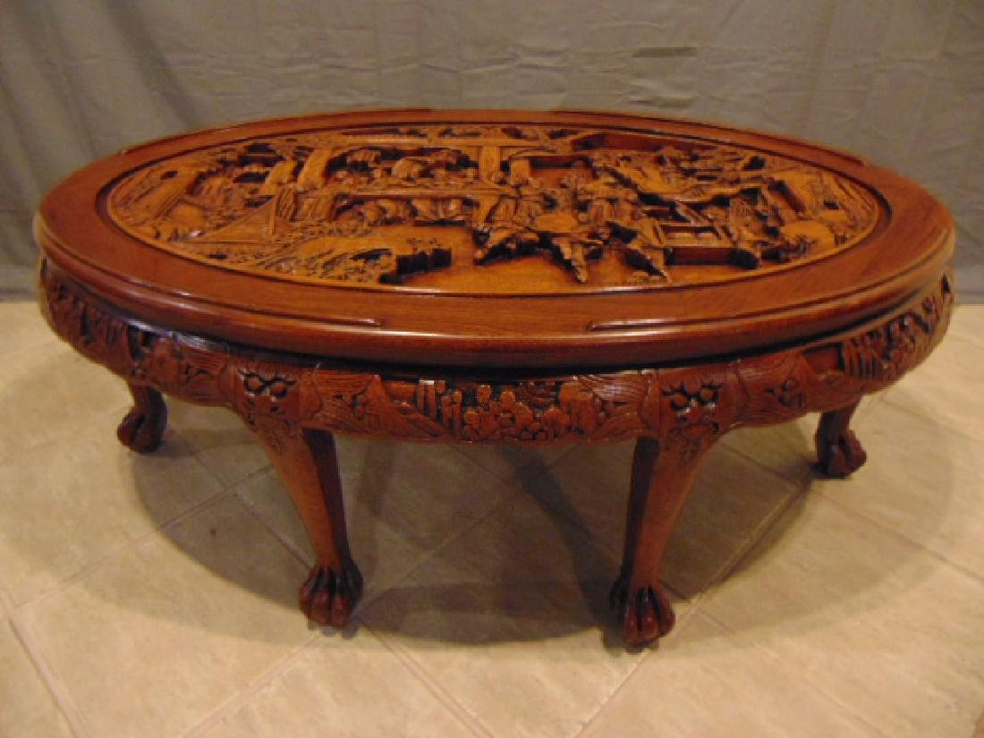 VINTAGE ANTIQUE HEAVILY CARVED CHINESE COFFEE TABLE
