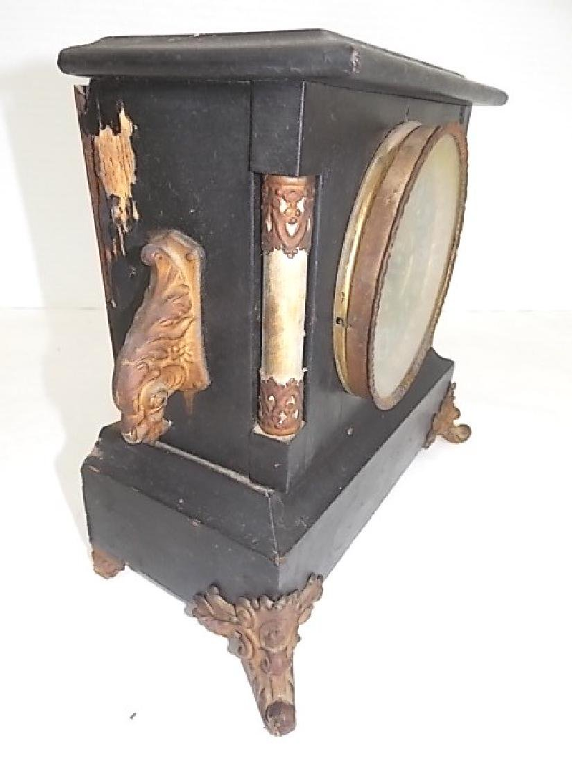 VINTAGE ANTIQUE GILBERT MANTLE CLOCK - 3