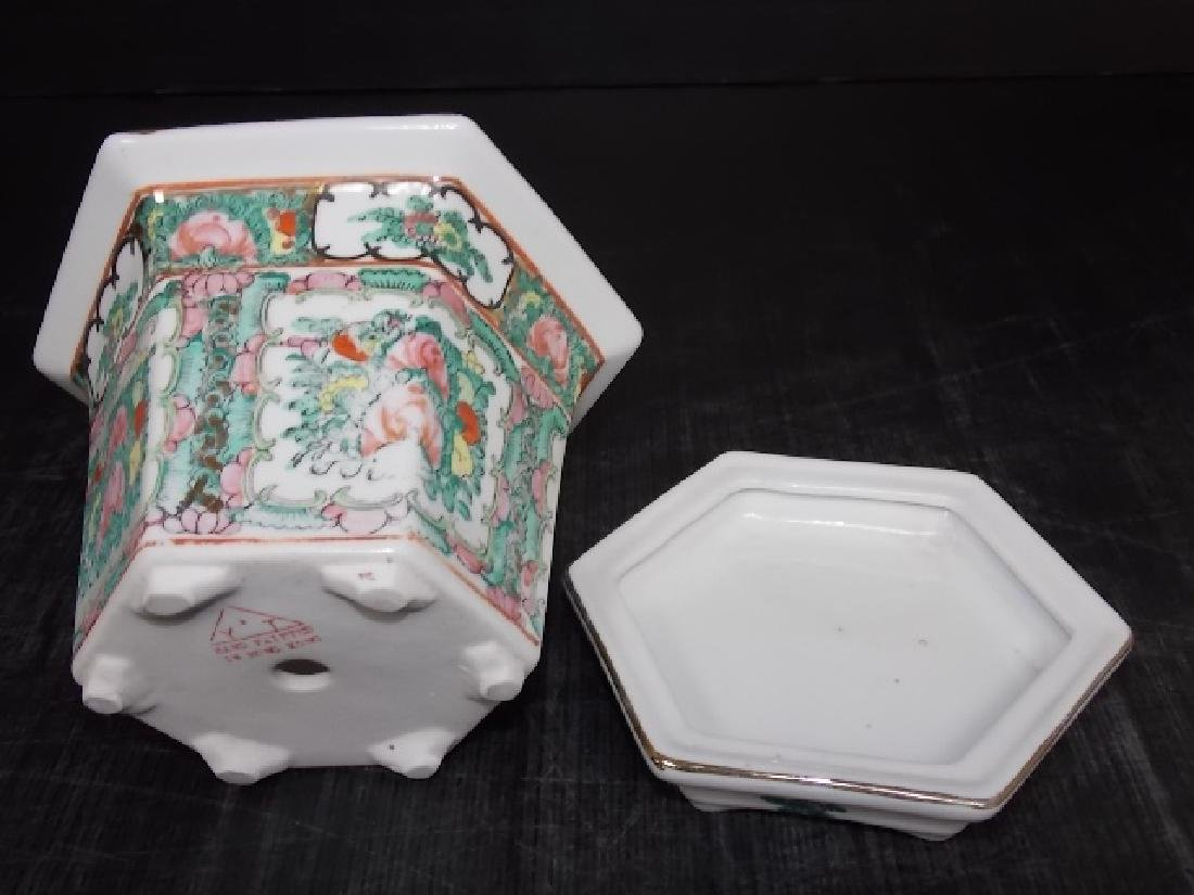 CHINESE FAMILLE ROSE PORCELAIN HEX PLANTER - 5