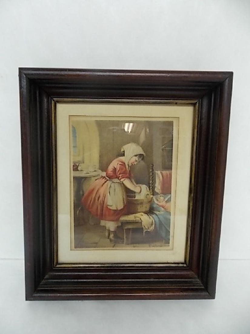 ANTIQUE DEEP WELL WALNUT FRAME W/ ANTIQUE PRINT SIGNED
