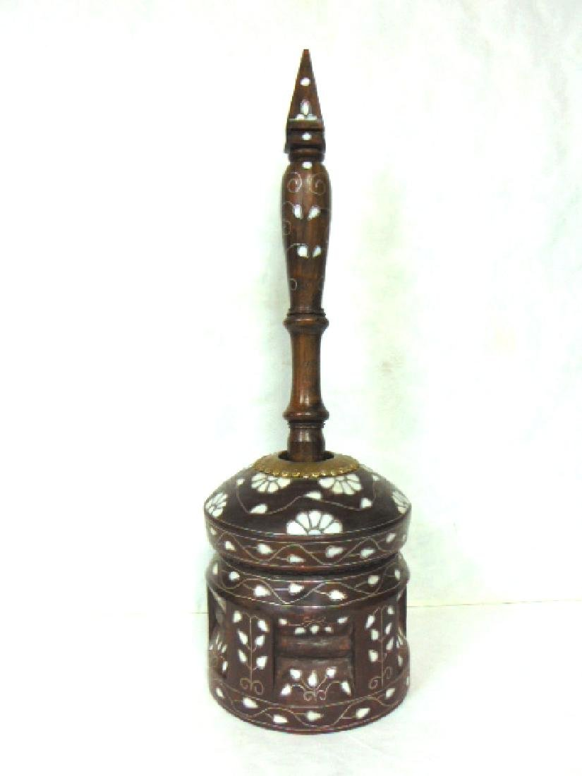 VINTAGE AFRICAN LARGE MORTAR & PESTLE MASHER W/ MOP