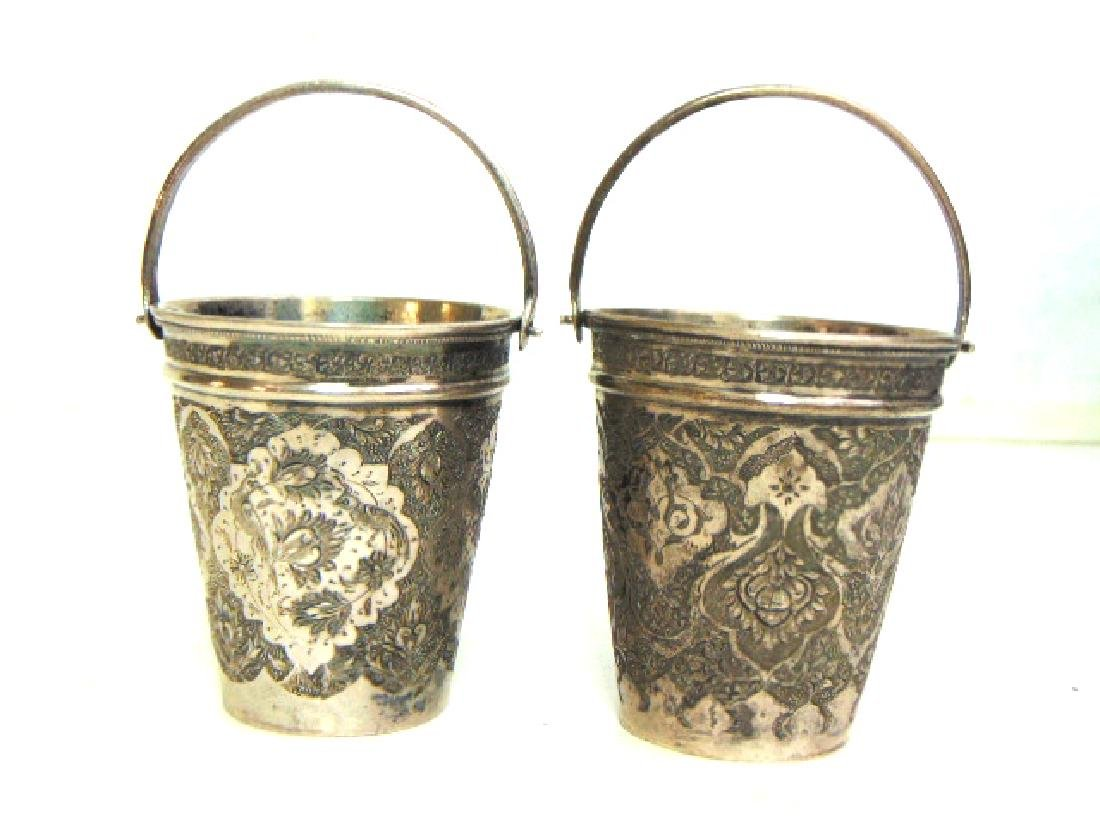 2 ANTIQUE VICTORIAN ETCHED MINI SILVERPLATE PAILS