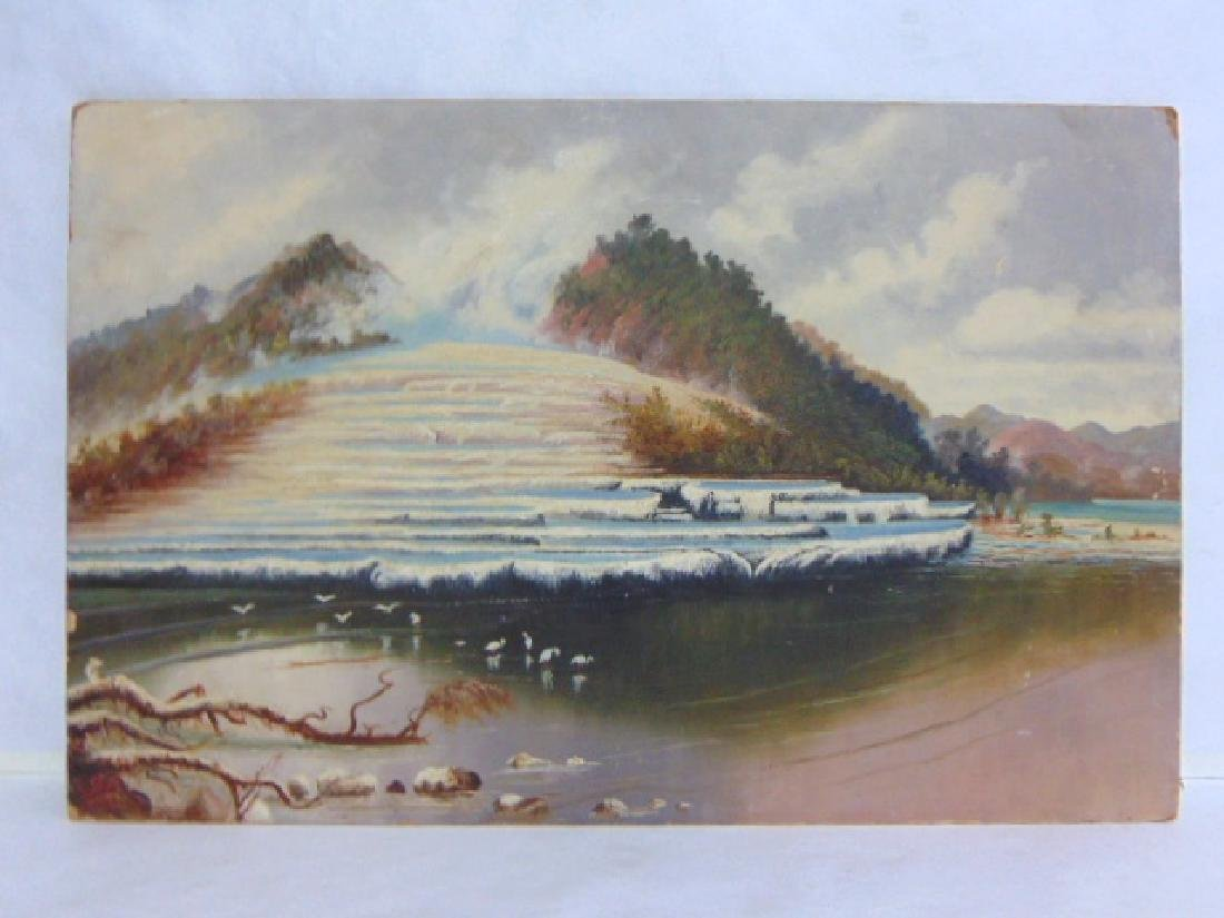 ANTIQUE WATERFALL WINTER SCENE PAINTING ON BOARD