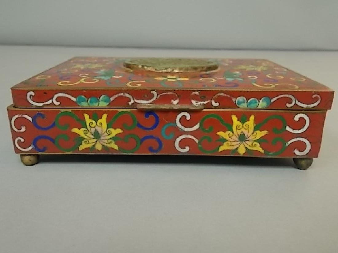 ANTIQUE CHINESE CLOISONNE VANITY BOX W/ JADE MEDALLION