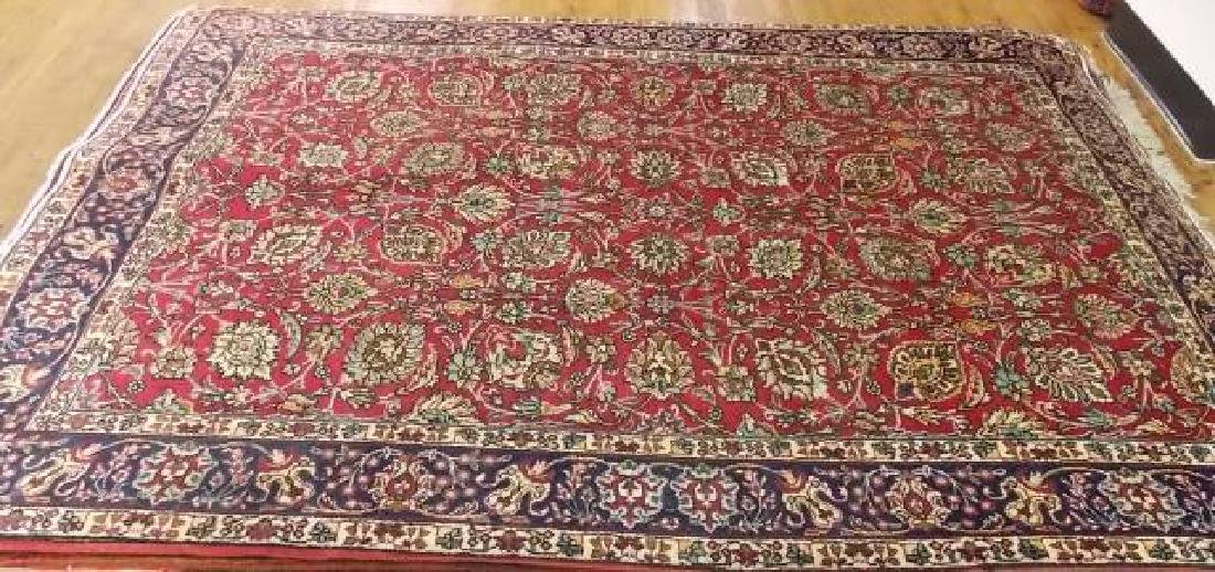 SUPER SEMI ANTIQUE PERSIAN RUG 6.3' x 9.6' RED/NAVY