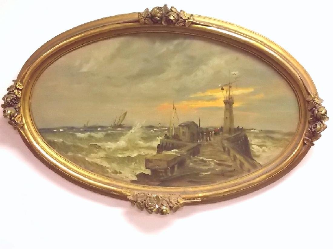 EXQUISITE ANTIQUE ESTATE OIL PAINTING BY LISTED ARTIST