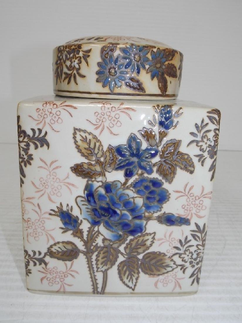 CHINESE PORCELAIN FLORAL GINGER JAR TEA CADDY