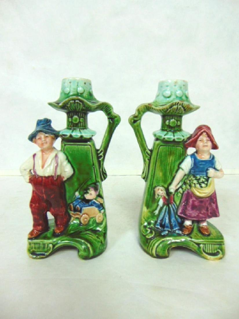 PR OF ANTIQUE MAJOLICA CANDLESTICKS