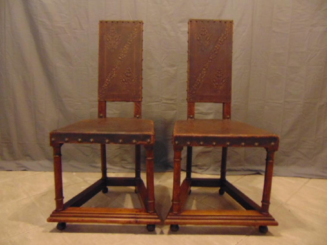 ANTIQUE SPANISH EUROPEAN LEATHER & WALNUT SIDE CHAIRS