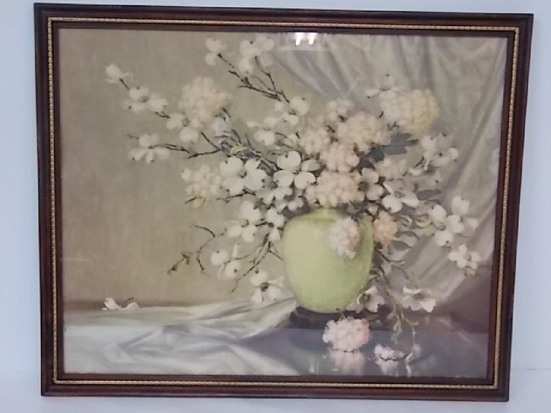 VINTAGE ANTIQUE FLORAL PRINT LITHO