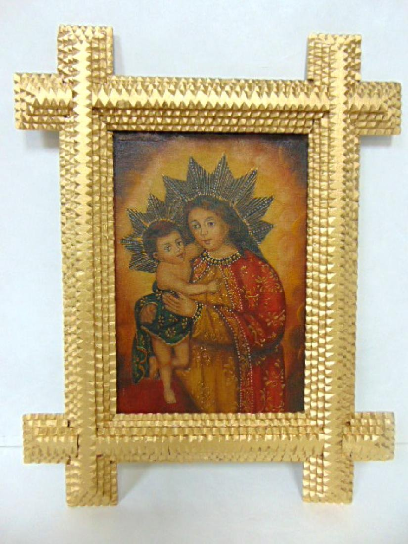 OIL ON CANVAS RELIGIOUS PAINTING OF MADONNA OR MARY