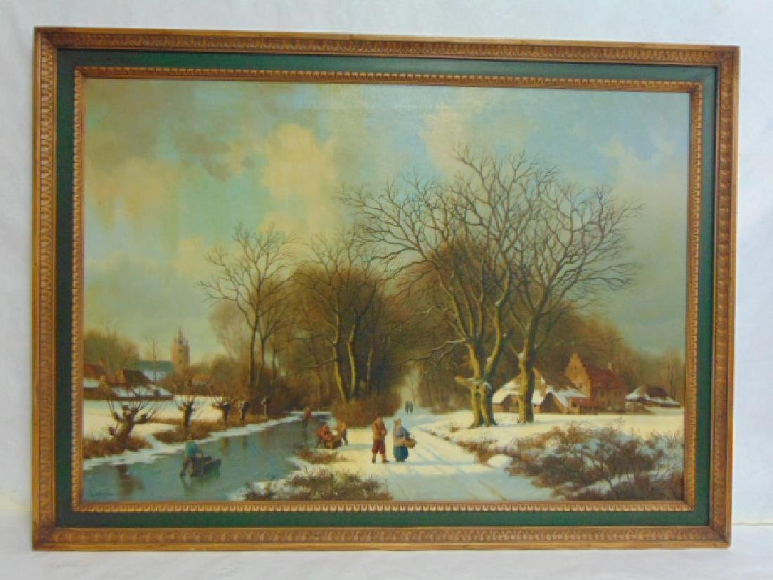 EXQUISITE ANTIQUE EUROPEAN WINTER SCENE BY SPITZLER