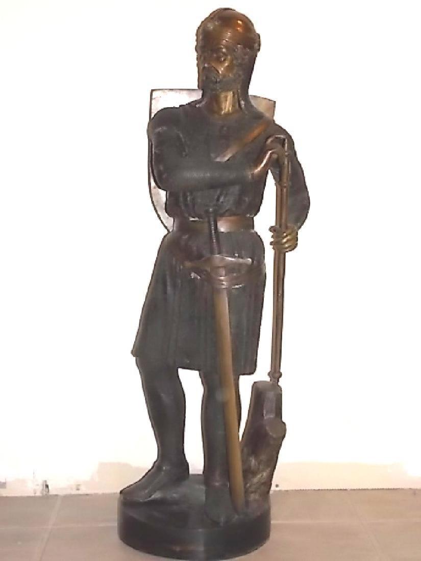HUGE BRONZE STATUE OF KING ARTHUR SWORD IN STONE