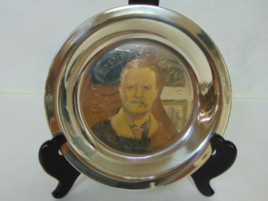 STERLING SILVER & 24KT GOLD ROOSEVELT COLLECTORS PLATE