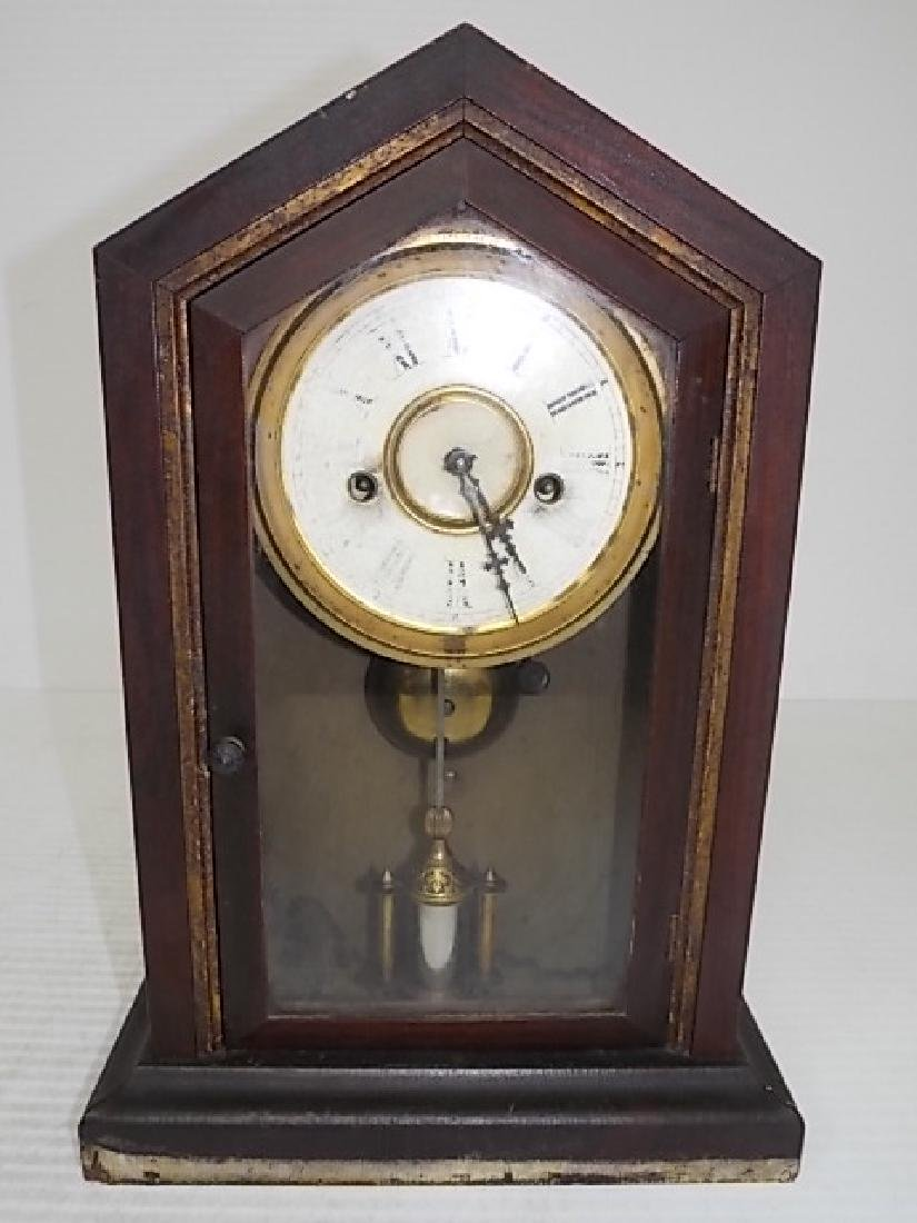 ANTIQUE CATHEDRAL MANTLE CLOCK WATERBURY THOMAS GILBERT