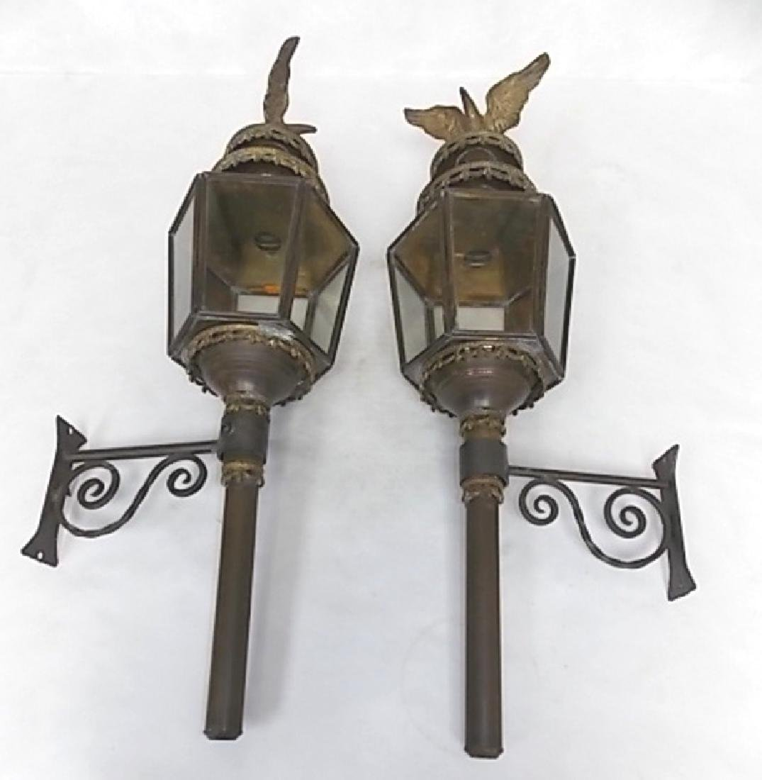 FRENCH ? ANTIQUE BRASS WALL SCONCE CARRIAGE LIGHTS