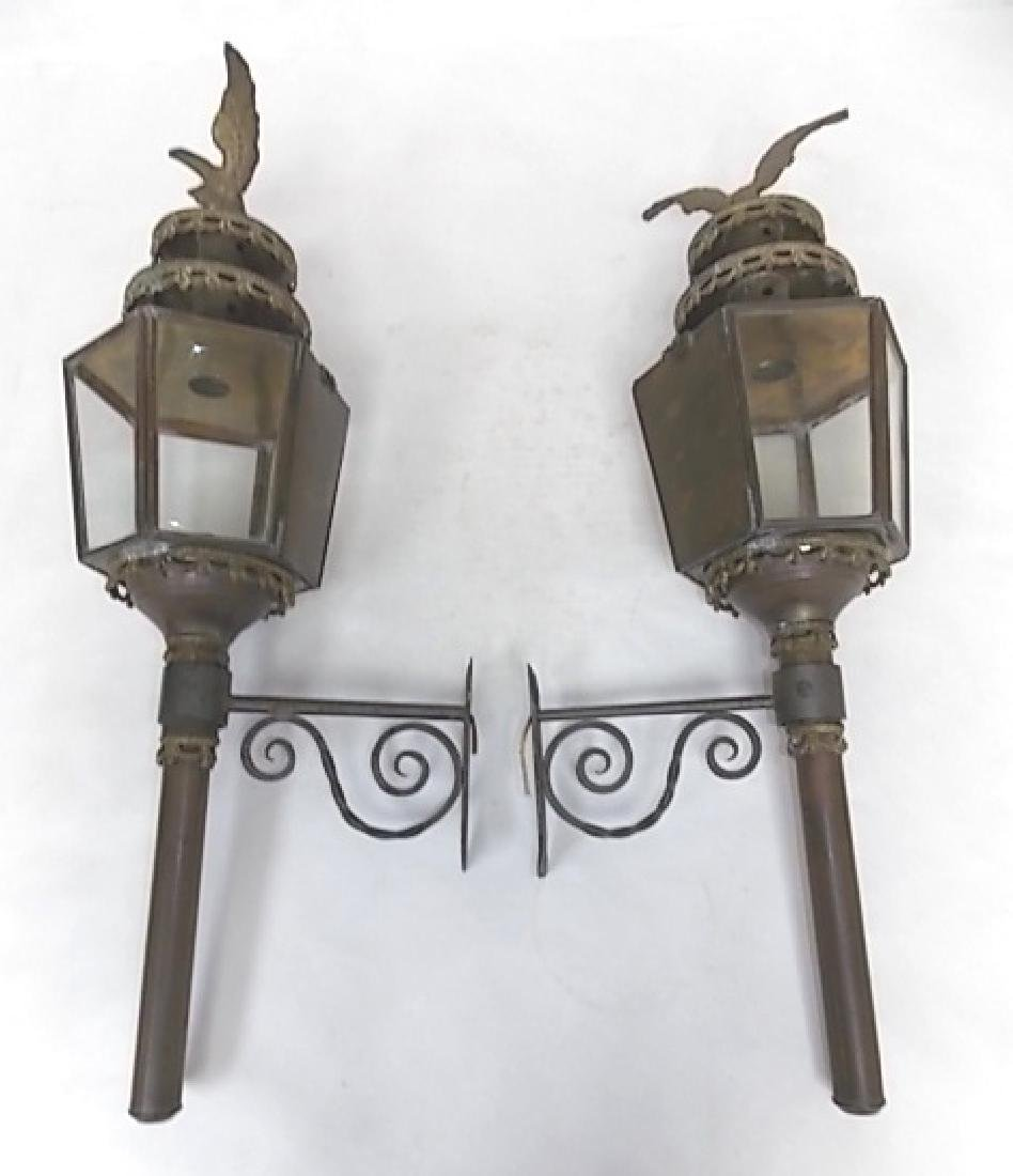 FRENCH ? ANTIQUE BRASS WALL SCONCE CARRIAGE LIGHTS - 2