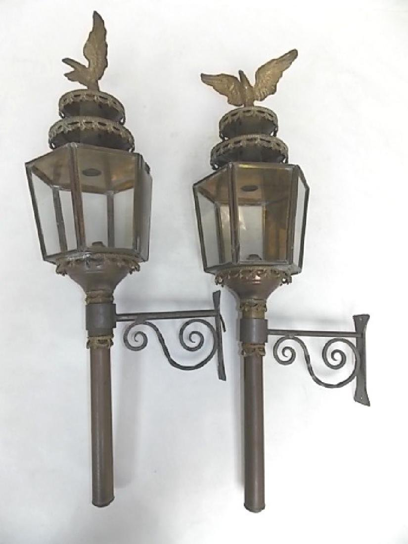 FRENCH ? ANTIQUE BRASS WALL SCONCE CARRIAGE LIGHTS - 3