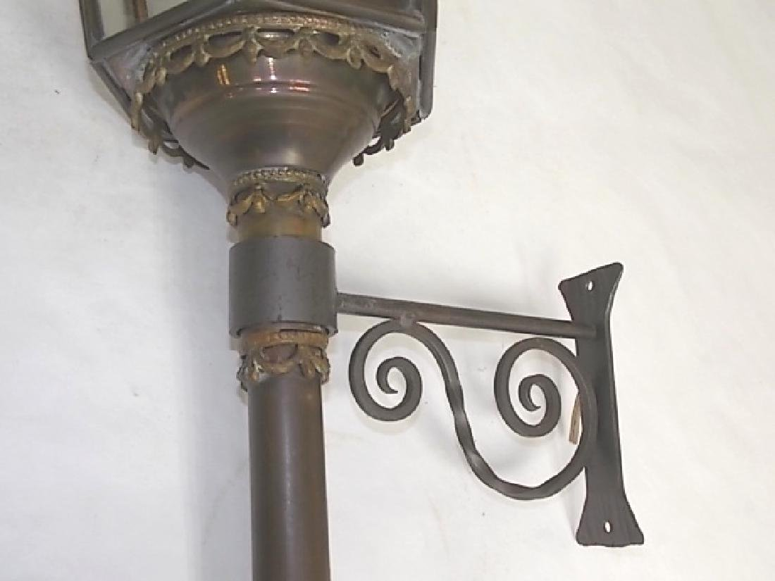 FRENCH ? ANTIQUE BRASS WALL SCONCE CARRIAGE LIGHTS - 4