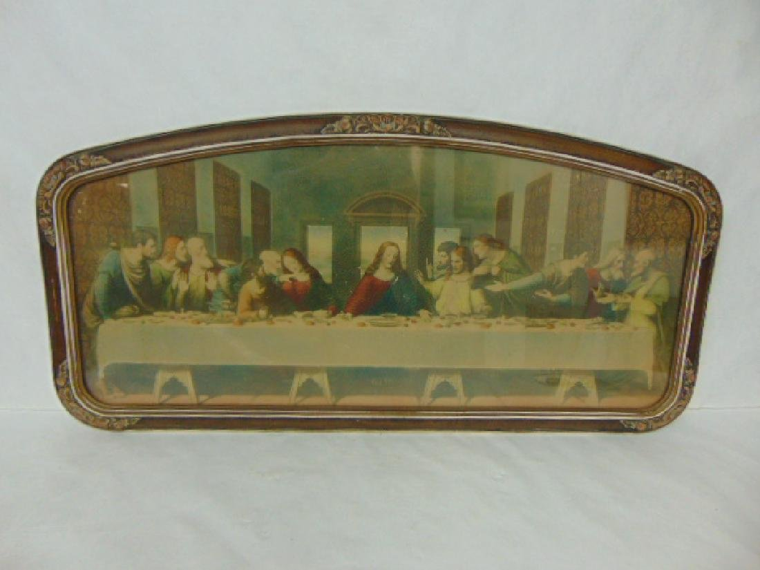 ANTIQUE LAST SUPPER JESUS PRINT LITHO W/ ORIGINAL FRAME