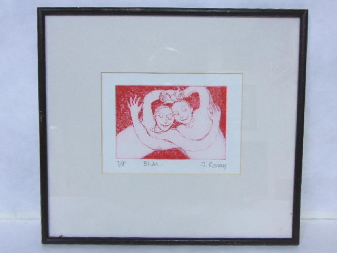 """DECORATIVE ETCHING PRINT BY JENNY RONAY """"BLISS"""""""