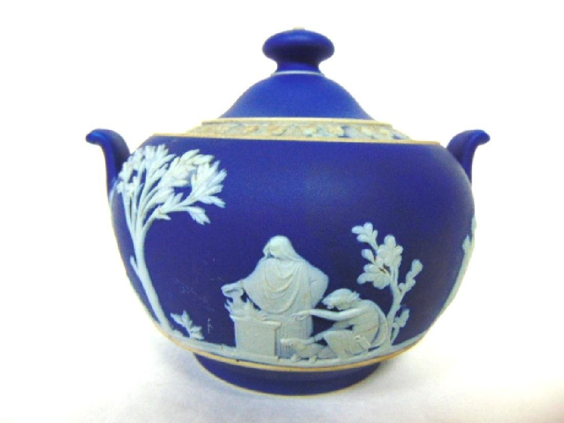 ANTIQUE WEDGWOOD PORCELAIN COBALT JASPERWARE CREAMER - 4