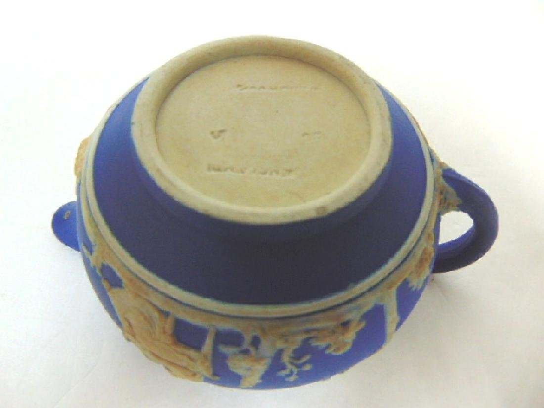 ANTIQUE WEDGWOOD PORCELAIN COBALT JASPERWARE CREAMER - 6