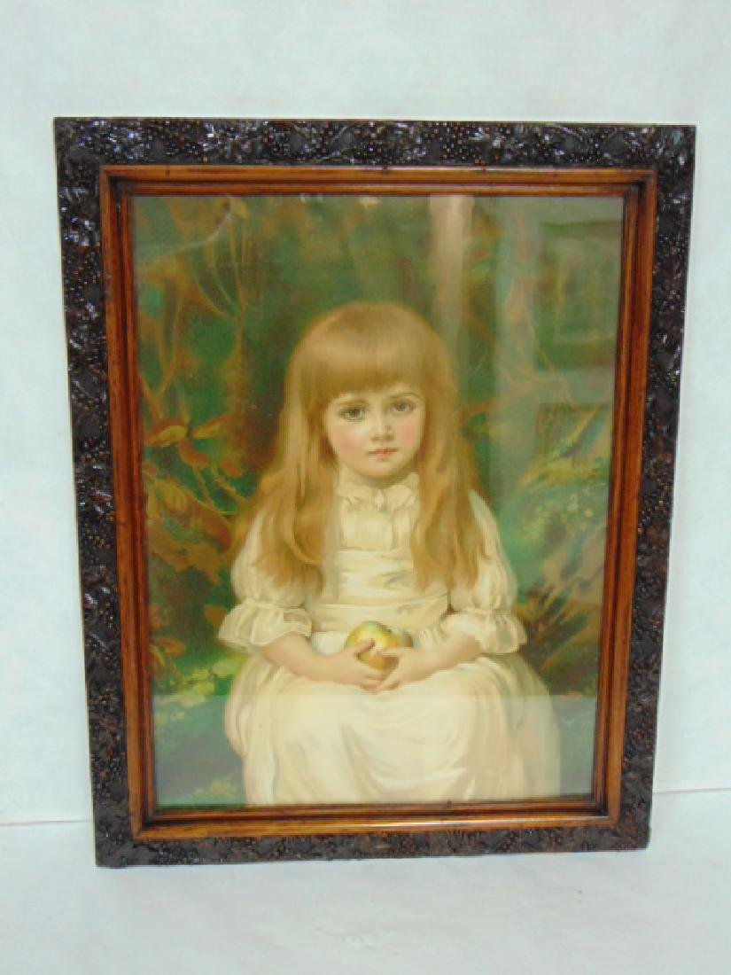 ANTIQUE VICTORIAN LITHO PRINT OF LITTLE GIRL W/ FRAME