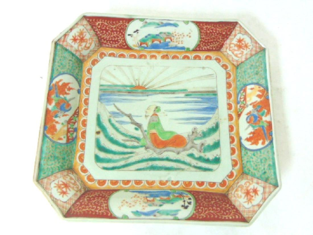 ANTIQUE HAND PAINTED CHINESE JAPANESE PORCELAIN CHARGER