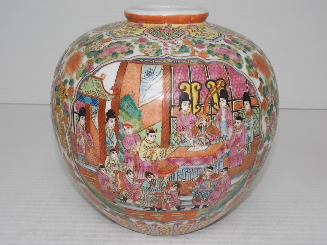 HAND PAINTED FAMILLE ROSE CHINESE PORCELAIN VASE