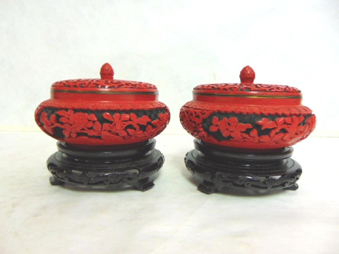Pr Vintage Chinese Cinnabar Covered Boxes w/ Enamel