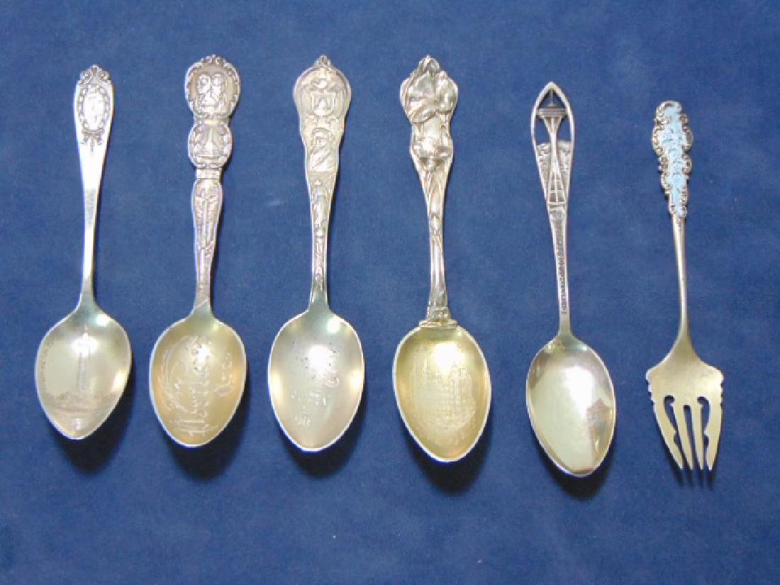 FIVE ANTIQUE STERLING SILVER SOUVENIR TEASPOONS & FORK