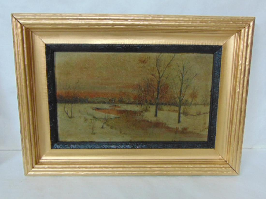 ANTIQUE SCENIC WINTER W/ STREAM OIL PAINTING MASONITE