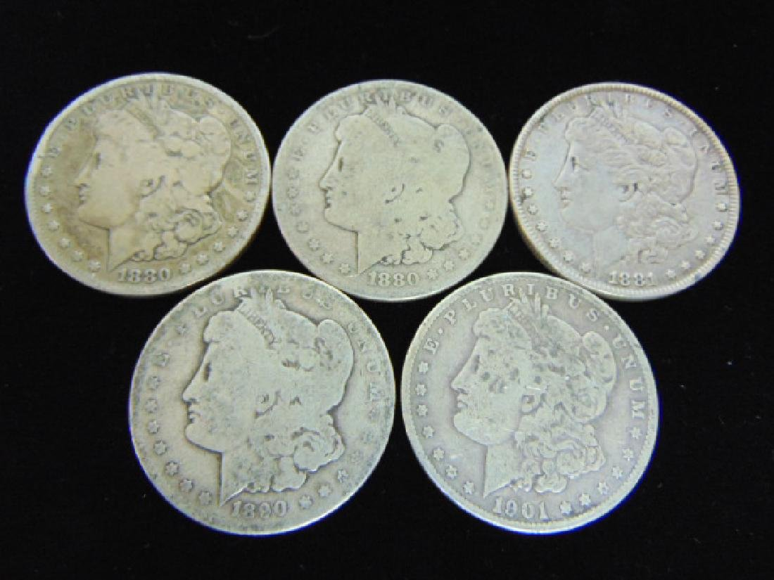 LOT OF 5 MORGAN SILVER DOLLARS COIN ESTATE FIND