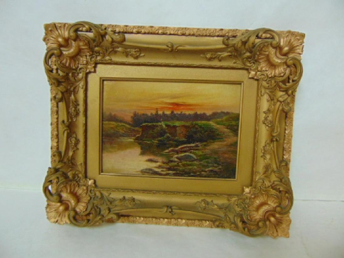 ANTIQUE OIL ON WOOD SLAT BOARD PAINTING W/ ORNATE FRAME
