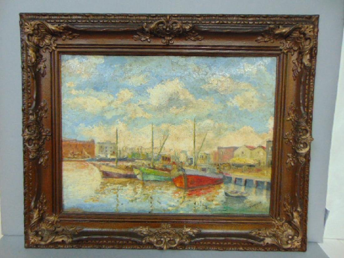 VINTAGE SEASCAPE PAINTING BY LISTED ARTIST VIDAILLAC