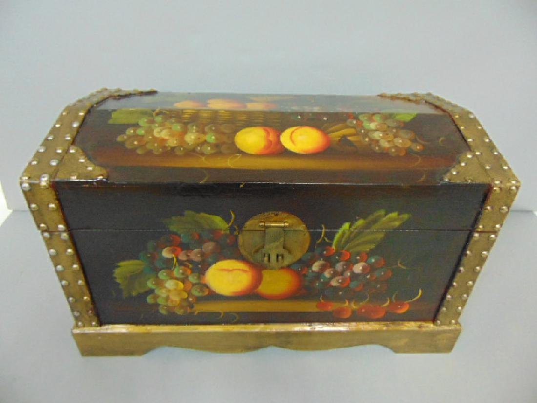 DECORATIVE HAND PAINTED TOLE CHEST DOCUMENT BOX