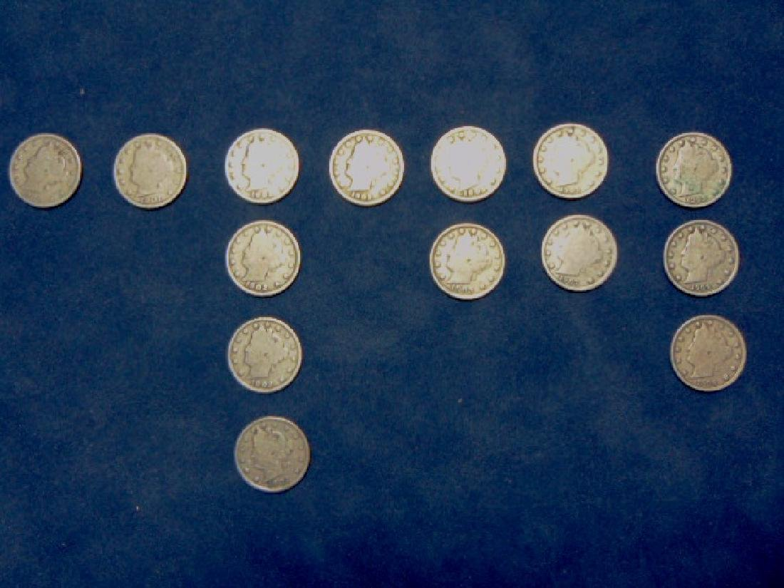 "14 LIBERTY ""V"" NICKELS W/ ASSORTED DATES"
