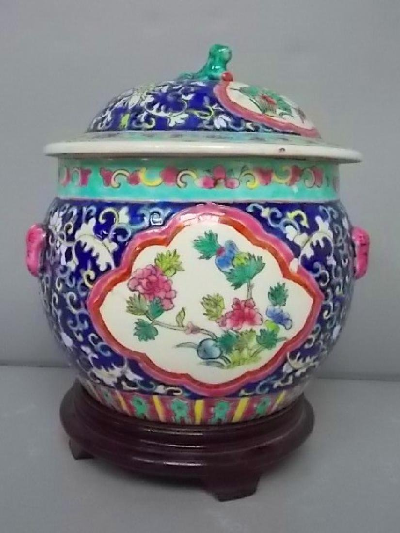 VINTAGE HAND PAINTED CHINESE GINGER JAR W/ STAND