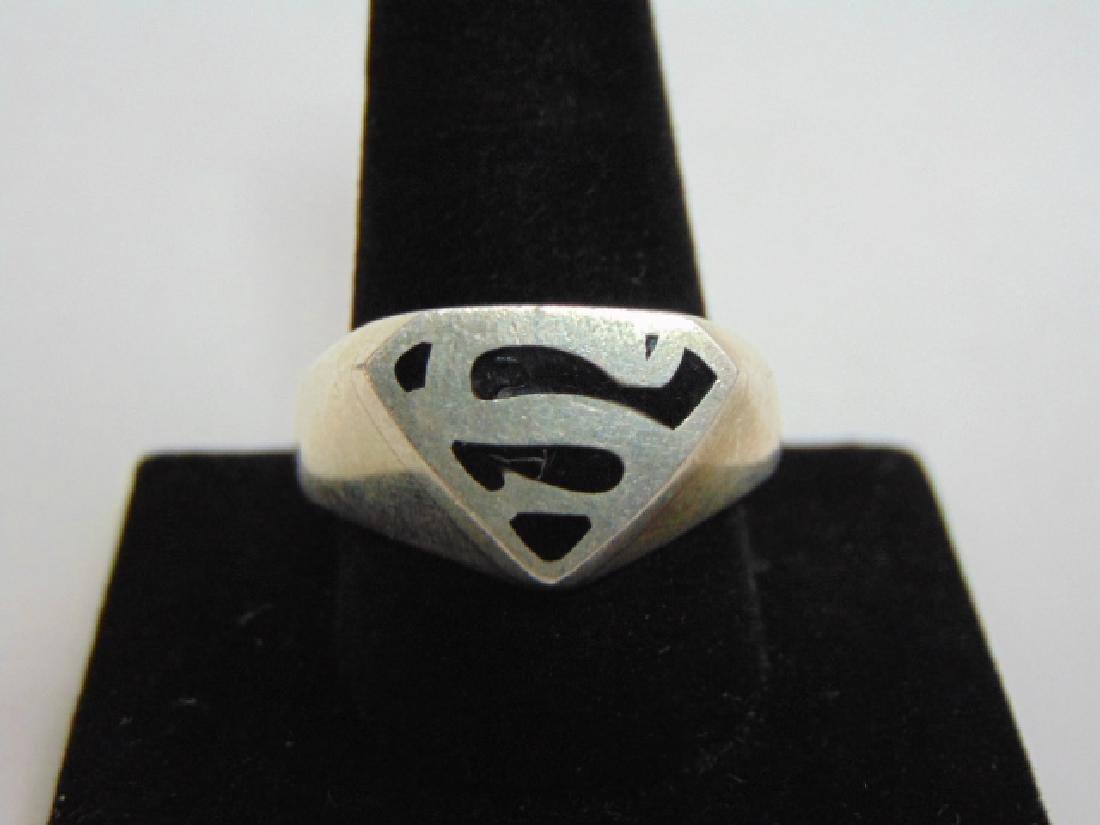 Mens Vintage Estate .925 Sterling Silver Superman Ring