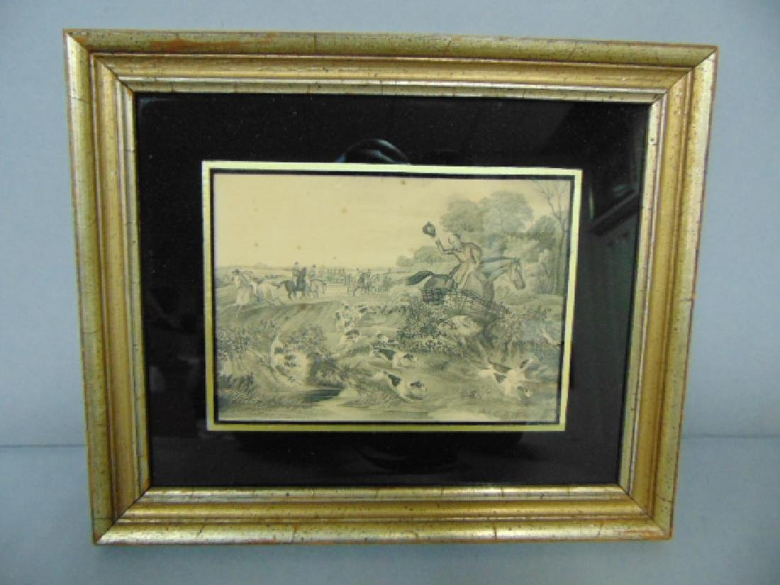 DECORATIVE ANTIQUE ENGLISH FOX HUNT ENGRAVING ETCHING