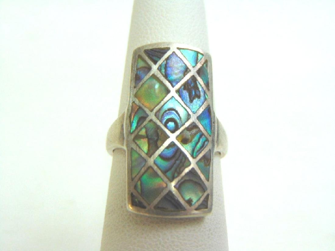 Vintage Estate Sterling Silver & Abalone Shell Ring