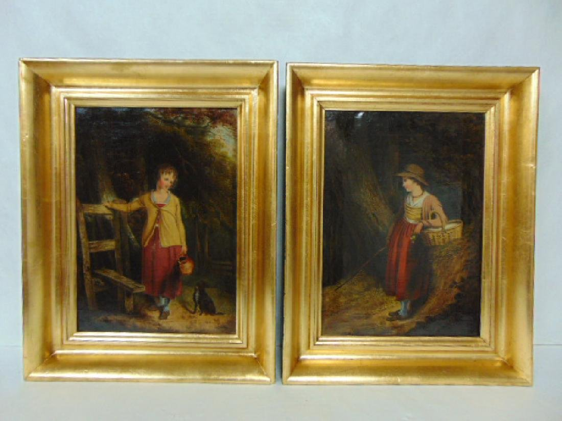 PR OF 19TH C. ANTIQUE OIL ON CANVAS PAINTINGS