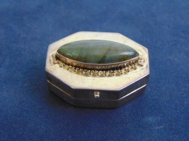 Vintage Sterling Silver Pill Box w/ Moonstone ?