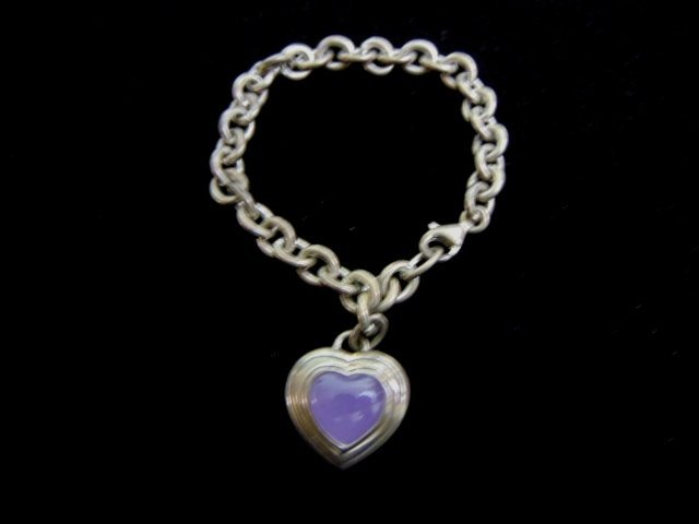 Sterling Silver Amethyst Heart Charm Link Bracelet
